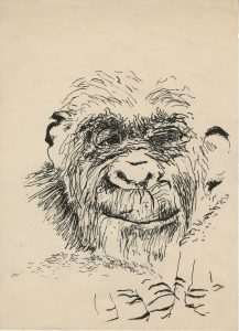 Paul McCarthy, Self-Portrait, 1963. Ink on paper. 11 × 8 1/2 in. (27.9 × 21.6 cm). Courtesy of the artist and Hauser & Wirth. © Paul McCarthy